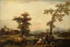Landscape with a Woman Leading a Cow - Landscape paintings by Francesco Zuccarelli
