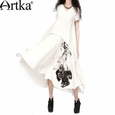 Artka Women's Beige A-line Oriental Ethnic Ink-painting Print V-neck Short Sleeve Free Draping Linen Cotton Dress LA11937X $162.40