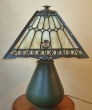 Antique Arts & Crafts Bradley & Hubbard Slag Glass Lamp Mission Bungalow Gothic Stained Glass