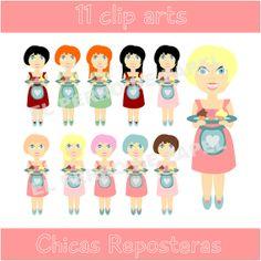 Chica Repostera Clip Arts  50 DE DESCUENTO por ElPerrodePapel, €1.10