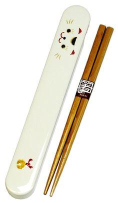 18.0 slide chopstick case set beckoning cat 53 135 lunch box HAKOYA Face
