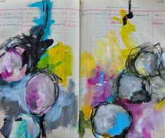 Dina Wakley's art journal circles - loving them! http://dinastamps.typepad.com/ponderings/2013/07/some-journal-pages-from-the-weekend.html