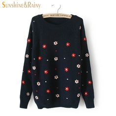 2016 Winter autumn casual pullovers tops long sleeved flower embroidery knit sweater solid lines warm women sweaters pullovers #Affiliate