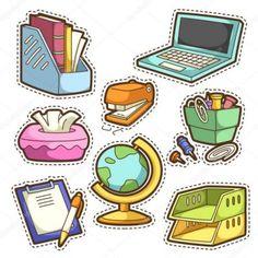 Conjunto de escuela. conjunto de Planner Stickers, Journal Stickers, Scrapbook Stickers, Printable Stickers, Cute Stickers, Doodles, Tumblr Stickers, Aesthetic Stickers, Cute Illustration
