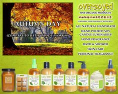 Autumn Day (Compare To Bath & Body Works®) Product Collection - Golden pear, apple and bergamot blend together with crisp air, chrysanthemums and warm sunshine to make a perfect autumn day. #OverSoyed #AutumnDay #Candles #HomeFragrance #BathandBody #Beauty