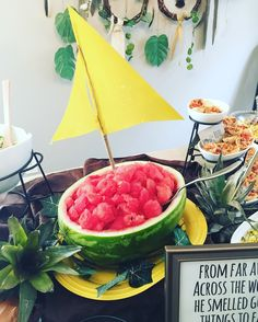 "Watermelon boat.  ""A Wild One"" Where the Wild Things Are First Birthday Party"