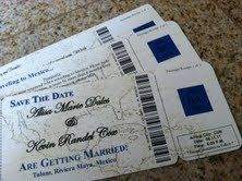 boarding pass save the date for destination wedding