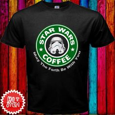 """Item  : Starbucks Coffee Parody """"Starwars"""" Funny Black T-Shirt.   Price : $23.69 Free Shipping to Worldwide.  Desc. : T-Shirt Material is 6.1 Oz Heavyweight 100% Cotton, New, Never worn, Standard fit. T-Shirt Using DIRECT TO GARMENT (DTG) printing machine, printing quality is guaranteed. T-shirt sizes available are S, M, L, & XL. Above it there is an additional cost (2XL & 3XL). You can contact me for order size and color you want."""