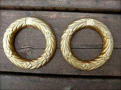 Vintage Pair of Golden Metal Wreaths Home Decor  by JackpotJen, $24.00