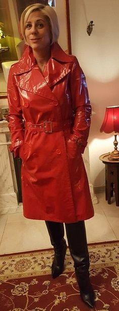 Rain Bonnet, Rain Fashion, Red Raincoat, Plastic Pants, Raincoats For Women, Rain Wear, Lady, Leather Jacket, Womens Fashion