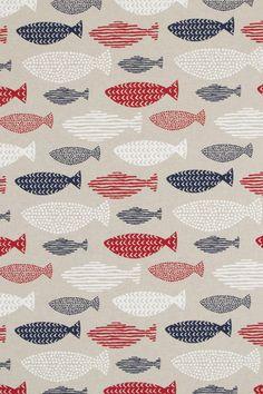 Stof met vissen motief, uitstraling van linnen, geschikt voor gordijnen, tafelkleden, tassen en kussens.