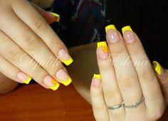 Желтые ногти, Желтый маникюр, Желтый френч, Кислотно-желтый маникюр, Красивый маникюр 2016, Маникюр для лета, Маникюр лето 2016, Маникюр шеллак 2016