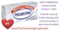 Print this RARE New coupon now and Score Cheap Philadelphia Cream Cheese at Publix Starting on 1/15 (1/14 for some)! ► http://www.thecouponingcouple.com/cheap-philadelphia-cream-cheese-1-13-15/  #ExtremeCouponing #Coupons #Couponing #CouponingCommunity  Visit us at http://www.thecouponingcouple.com for more great posts!