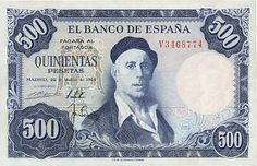 banco de espana banknote 500 spanish pesetas ignacio zuloaga 1954
