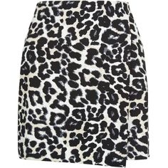 New Look Petite Black Animal Print A-Line Skirt ($26) ❤ liked on Polyvore featuring skirts, mini skirts, black pattern, wrap front skirt, print mini skirt, patterned mini skirt, a line mini skirt and animal print skirt