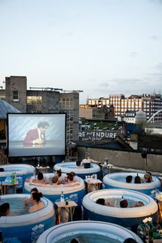 Hot Tub Cinema in London, for some reason it does remind me of Urban Hotspring in Rotterdam
