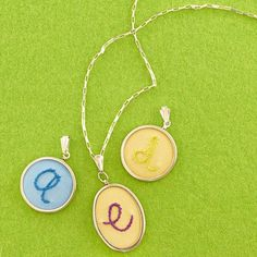 embroidered monogram necklace