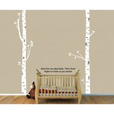 Two White Birch Tree Wall Decals