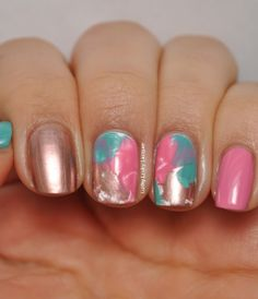Most of the manis I've done in the last two weeks or so have involved lots and lots of coats of nail polish and Seche Vite. Love Nails, How To Do Nails, Fun Nails, Pretty Nails, Different Nail Designs, Cool Nail Designs, Spring Nail Art, Spring Nails, Pink Gold Nails