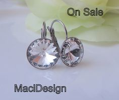 On Sale White Clear Swarovski Crystal, Diamond Look, Bridesmaids Earrings,Hypoallergenic Earrings, Stainless Steel Leverback, free US ship