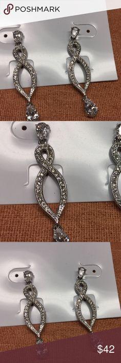 """Sterling silver CZ teardrop earrings """"N"""" mark New without tags..measures 2"""" drop Sterling silver Jewelry Earrings"""
