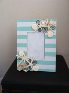 Beach Decor Seashell Picture Frame - Aqua Shell Picture Frame