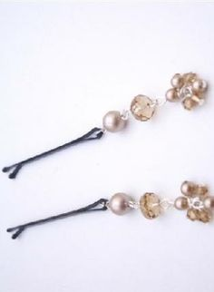 Powder Almond Pearls & Swarovski Crystals Bobby Pin Bridal H,  Accessory, Bobby Pin bridal pins Powder Almond, Chic