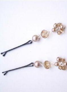 Powder Almond Pearls & Swarovski Crystals Bobby Pin Bridal H,  Accessory, Bobby Pin bridal pins Powder Almond, Chic