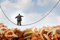 image of overweight man in a suit walking a tightrope over fast food like pizza onion rings chicken nuggets fried hamburgers obesity obese cancer gallbladder baby boomer Addiction, Purple Food, Diabetes, Anorexia, Food Industry, Saturated Fat, Healthy Living, Healthy Foods, Healthy Recipes