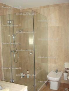 Mampara de ducha en baldosa 10 mm templado con sus for Herrajes para mamparas ducha