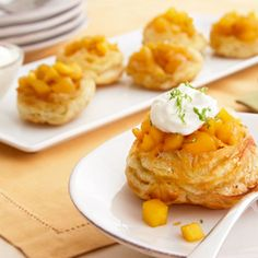 Enjoy a mini tropical vacation right in your own kitchen with these delicious Florida Mango Mini Tarts from Campbell's Kitchen! Lime-accented mango coupled with flaky puff pastry makes for one of the most tasty tropical dessert recipes ever. Tropical Desserts, Easy Desserts, Dessert Recipes, Mini Desserts, Fruit Recipes, Dessert Ideas, Delicious Desserts, Recipies, Yummy Food
