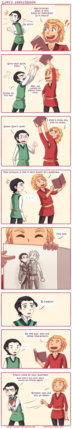 Loki's sketchbook---No! One should NEVER look in another's journal/sketchbook without permission! That is a sacred thing.