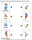 Air transport - match the parts - vocabulary - Preschool