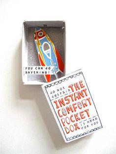 Instant Comfort Pocket Box  rocket by kimslittlemonsters on Etsy, €7.95