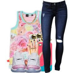 A fashion look from August 2013 featuring rose tops, skinny jeans and gold rings. Browse and shop related looks.