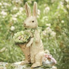 """Bethany Lowe Resin 16"""" Easter ~ Spring SHABBY CHIC BUNNY w/ CONE Figure"""