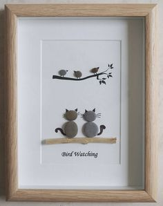 This is a beautiful small Pebble Art framed Picture of 2 Cats watching Birds- Bird Watching  handmade by myself using Pebbles and Driftwood  Size of Picture incl Frame : approx. 22cm x 17cm   This Picture is finished and only available as shown in Photo  Thanks for looking Doris   Facebook: https://facebook.com/Pebbleartbyjewlls4u      Product Code: P - Pink