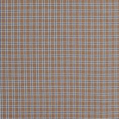 Beige and Blue Plaid Cotton Twill