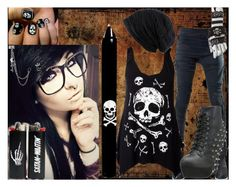 """""""Satan Is Waitin'"""" by kiaraloops ❤ liked on Polyvore featuring DEMOBAZA, Alexander McQueen, Bettie Page and Betsey Johnson"""