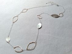 Handmade Oxidized Sterling and 14kt Goldfill Link Marquis  Necklace by J&I jewelry.