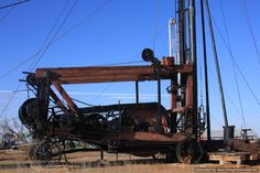 Cable tool drilling rig used in West Texas oilfield. This would be great in showing the different types of technology used in the oil field. Students can look at the different tools used in the finding and processing of oil.
