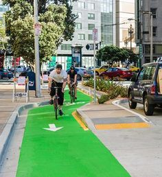 This protected bike lane on Polk Street, San Francisco was voted the best new US lane of 2014.