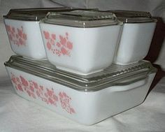 Pyrex Pink White Gooseberry Refrigerator Dishes