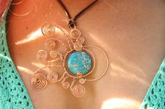 Handmade Sun, Moon, Earth Pendant,  Wire Wrapped Blue Agate, Necklace, Tribal Necklace, Statement Necklace, Wire Wrapping,  Aztec, Hippie