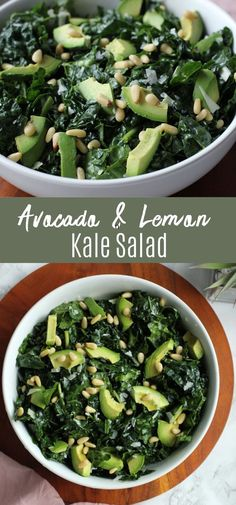 This avocado kale salad is quick and easy to make and it's packed with nutrients! If you love avocado, this salad is for you! The homemade dressing is a combination of olive oil, lemon, and parmesan… More Side Salad Recipes, Kale Recipes, Avocado Recipes, Healthy Salad Recipes, Side Dish Recipes, Vegetable Recipes, Beef Recipes, Vegetarian Recipes, Vegetarian Tacos