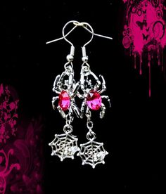 Buy 1 Get 1 Offhot Pink Crystal Halloween Spider Web Dangle Silver Earrings Halloween Earrings, Halloween Jewelry, Halloween Gifts, Halloween Spider, Spider Earrings, Gothic Earrings, Kids Earrings, Earring Trends, Gemstone Colors