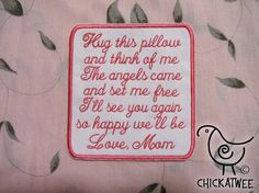 Memory Pillow Patch Original Poem Sew On by ChickaTweeBagsEtc