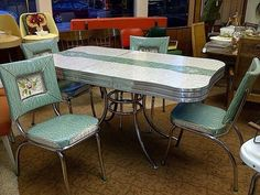 Chrome And Formica Dining Sets | Pink Patterened Formica Set | OLD ...