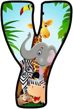 Safari Theme Birthday, First Birthday Party Themes, Jungle Party, Safari Party, Safari Animals, Baby Animals, Alfabeto Animal, Safari Decorations, Letters