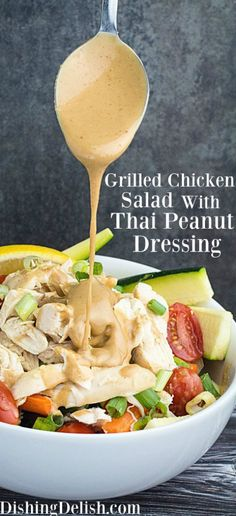 Repin! Savory, sweet, and just a touch of heat, this Grilled Chicken Salad & Thai Peanut Dressing has it all. Super creamy texture from a blend of coconut milk and peanut butter, sweetness from honey, savory soy sauce, and just a dash of cayenne pepper give this dressing a flavor combination you're going to love. Served on top of a healthy grilled chicken salad, this really is the perfect lunch time meal!